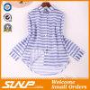 Gute Quliaty Baumwollform-Streifen-Bluse mit Tasten