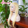 Perruque 100% blonde de lacet de cheveux humains de Vierge pleine avec la bande