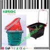 Plastikeinkaufskorb mit vier Rädern
