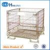 Jaula plegable galvanizada del acoplamiento de alambre del almacenaje de la manipulación de materiales