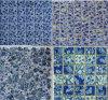 青及び白い磁器のガラス石造りのモザイク・タイル
