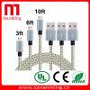 Carga del cable del USB del micr3ofono del enredo trenzado de nylon y transferencia de datos libres para el androide