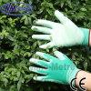 Перчатка безопасности работы руки PU Nmsafety зеленая покрытая