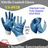 Блокировка перчатка с голубой Nitrile Полный покрытия и вязать запястья / EN388: 4111 / Размер 7 , 8, 9 , 10 (YS-092B)