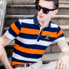 Knitted occasionnel Pique Stripe Polo Shirt, Embroidered T-Shirt pour Men