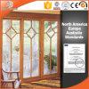 Portello scorrevole personalizzato dell'elevatore di legno solido di formato, portello di vetro di scivolamento per il patio, portello di alluminio con la durata della vita durevole