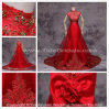 2014 Wear nupcial Classic Bridal Bow feito-à-medida A - linha Red Lace Appliques Wedding Dress (10233)