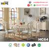 Tableau dinant carré de meubles en bois européens de type avec du marbre (HC64)