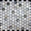 真珠母および川の貝のモザイク・タイル、六角形パターン(MIX-M03-HX25)