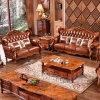 Canapé en cuir classique avec armoires en bois pour meubles de salon