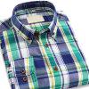Camisa ocasional del nuevo del Mens de tela escocesa de las camisas algodón delgado largo de la funda