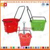 Panier à provisions en plastique des prix bon marché avec les roues (Zhb28)