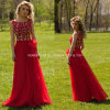Ladies vermelho Party Dress A - linha baile de finalistas Dresses Y2026 de Applique Chiffon Evening