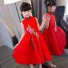 [Vestido do laço do vestido do chinês do bordado do projeto 3D do vestido da menina de flor]