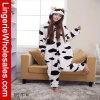 Pyjamas animaux d'Onesie de dessin animé de vache à lait