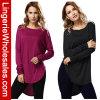 2개의 색깔 여자 둥근 고리 긴 소매 t-셔츠