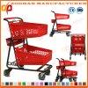 Chariot en plastique à achats d'épicerie en métal de fil de panier à deux niveaux (Zht218)