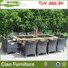 藤の家具またはTeakwoodの藤のダイニングテーブルおよび12脚の椅子