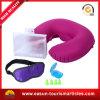 Almofada de pescoço inflável de veludo para aviação