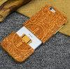 El caso de madera verdadero de encargo de lujo de gama alta de la cubierta del teléfono móvil para el laser del iPhone 6/6s Sakuragi graba la caja del teléfono celular