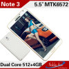 3つにPhone Mt6572 1.2GHz Dual Core RAM 512MB ROM 4GB 5.5 Inch 3G Cheap Unlocked Android Phone注意しなさい