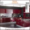 Hoher Glanz-Lack-hölzerner Küche-Schrank in der roten Farbe
