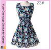 Fabrik elegant plus Größen-Blumendruck-Chiffon- kurzes Sleeveless Kleid