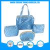 زرقاء أطلس جاكار نسيج مستحضر تجميل حقيبة بنية حقيبة حقائب محدّد