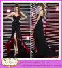 Nuevo Sexy Chiffon Black y baile de fin de curso Dress Yj0067 de Red Sweetheart Sleeveless Zipper Back Long Short Front Long Back