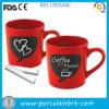 Tasse rouge de tableau de café d'amour chaud de couples