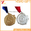 2016 geprägtes silbernes kundenspezifisches Medaillen-Abzeichen mit Farbband (YB-LY-C-23)