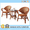 Muebles para hoteles Rattan exterior Silla apilable y mesa de mimbre de jardín