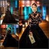 Robes de mariage noires de satin de mode d'équipage de robes de boule de lacet Z8031