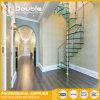 Escalera espiral moderna de interior con el diseño de cristal de las escaleras de la barandilla