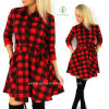 Explosiones Ocio Otoño Otoño Mujeres Plaid Printed Spring Shirt Dress