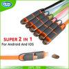 1m 2 em 1 cabo cobrando do USB do macarronete para o iPhone para o cabo de dados universal de Samsung