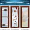 Portello di alluminio della stanza da bagno con vetro lustrato colorato