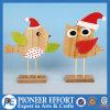 Diseño de madera del pájaro y del buho para la decoración del vector de la Navidad