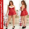 Женское бельё добавочного Babydoll Санта шнурка размера красного сексуальное для женщин