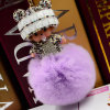 Clef autentico a cristallo di Porte degli accessori del sacco delle donne dell'anello chiave dell'automobile della catena chiave della sfera della pelliccia POM del coniglio di Monchhichi Keychain Rex delle bambole dell'intarsio sveglio popolare