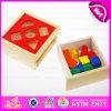 Interessanter ungiftiger hölzerner Block des Puzzlespiel-2015, pädagogischer hölzerner Spielzeug-Puzzlespiel-Block, Spitzenverkaufs-Kind-hölzernes Puzzlespiel-Block-Spielzeug W12D021