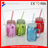 Un insieme del commercio all'ingrosso di 4 tazze di vetro dei vasi di muratore della maniglia della radura con il cestino del metallo e del coperchio