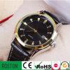 Relógio impermeável genuíno dos homens de negócio da cinta de couro de caixa de aço inoxidável