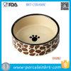 Pata del perro que pinta el tazón de fuente del perro de la venta al por mayor de la porcelana de la dimensión de una variable redonda