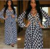 2015 Hot Sale Long Sleeve Fat Women Maxi Chiffon Dress