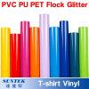 Vinil da película da impressão da transferência térmica do t-shirt de PU/PVC/Pet/Glitter/Flock/Fluorescent