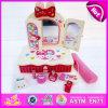 Le produit de beauté chaud de l'article 2015 joue des jouets de raboteuse de mode, ensemble de maquillage de beauté du jouet de la fille de jeu de rôle, le jouet en bois W10d015 de raboteuse d'enfants roses