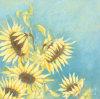 Peinture à l'huile jaune faite main de conception de fleur de tournesol (LH405000)