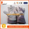 牛そぎ皮作業手袋の縞の綿のドリルの安全手袋Dlc215
