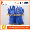 Ровные законченный перчатки PVC химически, голубой цвет (DPV116)
